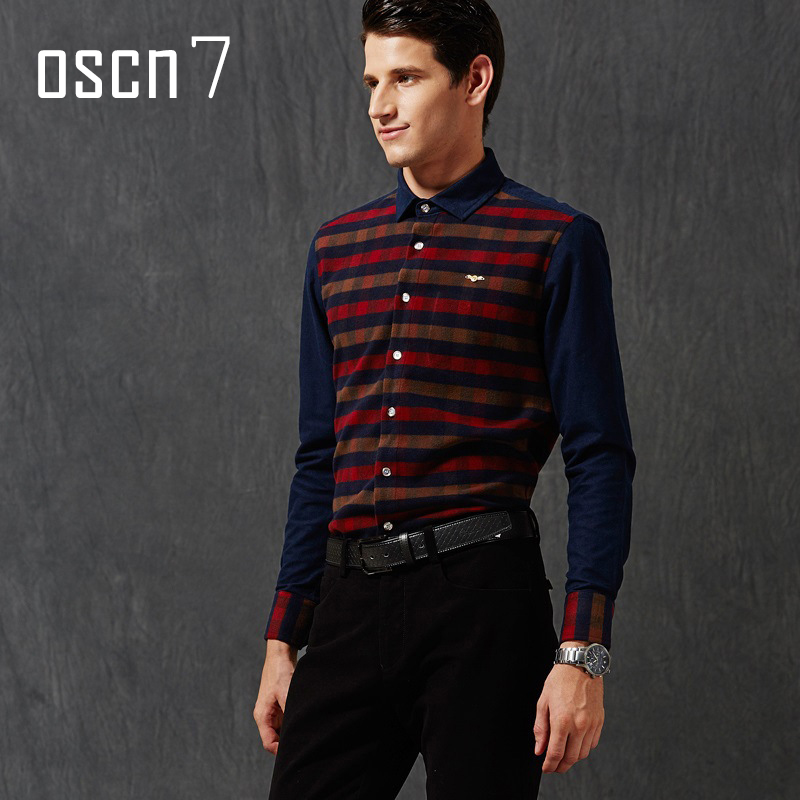 OSCN7 2017 Latest Plaid Shirt Men Slim Fit Business Formal Dress Shirts Brand Clothing Plus Size Casual Chemise Homme M-3XL