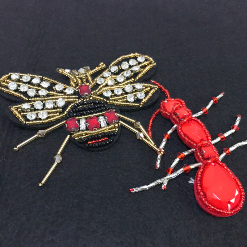 6pieces/lot Fashion hand-beaded insects patch Clothing bag jewelry DIY accessories scorpion bee spider ant RS4