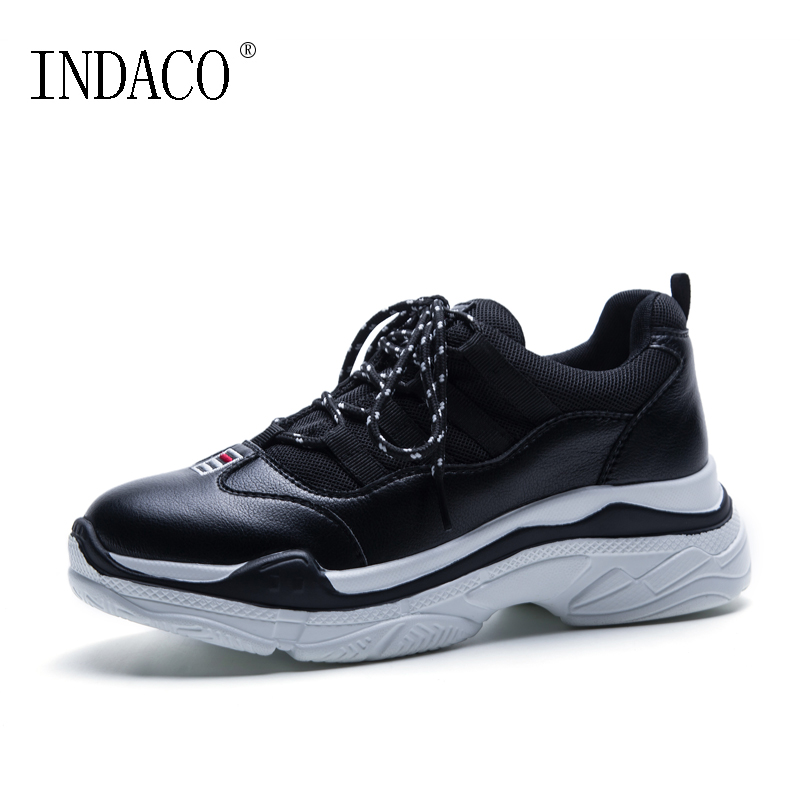 Spring Thick Heel White Black Women Shoes Sneakers Leather Platform Footwear 4cm Zapatillas Mujer Casual INDACO цены онлайн