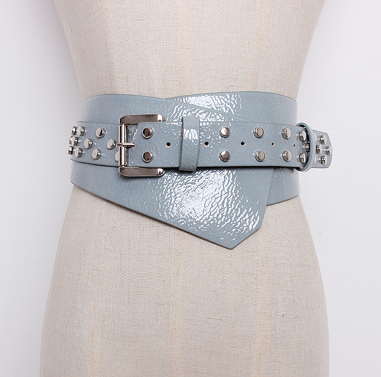 Women's Runway Fashion Patent Leather Rivet Punk Cummerbunds Female Dress Corsets Waistband Belts Decoration Wide Belt R1290