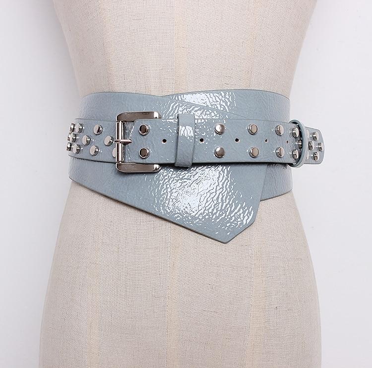 Women's Runway Fashion Patent Leather Rivet Punk Cummerbunds Female Dress Corsets Waistband Belts Decoration Wide Belt R1290