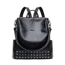 Korean version of the new leather large capacity backpack Personalized rivet zipper