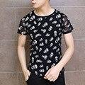 Crânio impresso t-shirt da forma dos homens slim fit de manga curta t-shirt camisas masculino malha splice camiseta punk rua vestido clothing a413