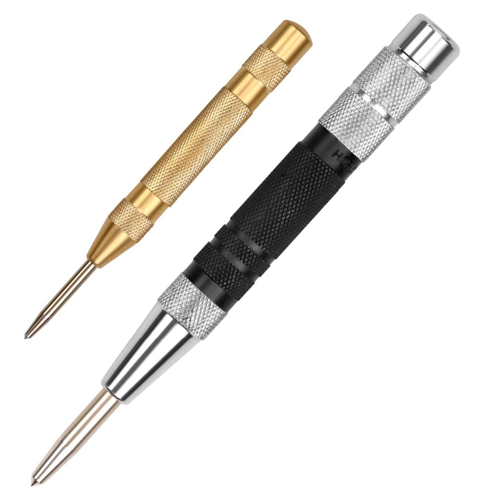 SEDY Super Strong Automatic Centre Punch And General Automatic Center Punch Adjustable Spring Loaded Metal Drill Tool 2pcs