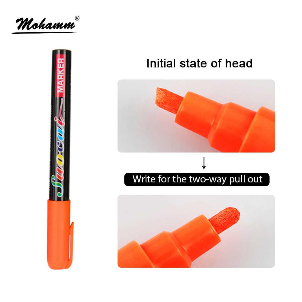6 ミリメートル液体チョークマーカーペン消去可能なマルチ色蛍光 LED 筆記板ガラス窓アート 8 色マーカーペン
