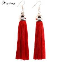 Crazy Feng 2017 Trendy Chinese Long Drop Tassel Earrrings Female Ethnic Red Black Purple Blue Wedding Fringed Dangle Earrings