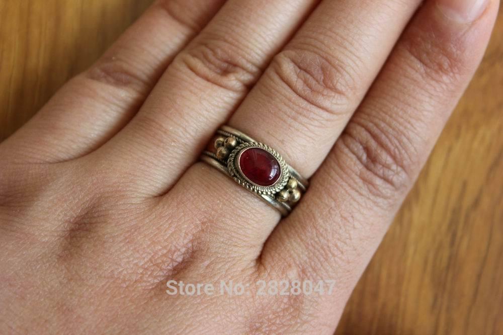 RG309 Etnisk tibetansk kobberinnlagt fargerik Onyx stein kvinner - Mote smykker - Bilde 6