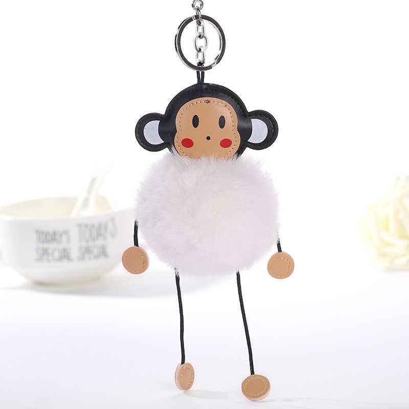 Original Nova Pele De Coelho Fofo Mulheres Pompom Pompom Chaveiro Macaco Chaveiro Bola de Pêlo de Coelho Mulheres Bolsa Charme Casamento Bugiganga presente