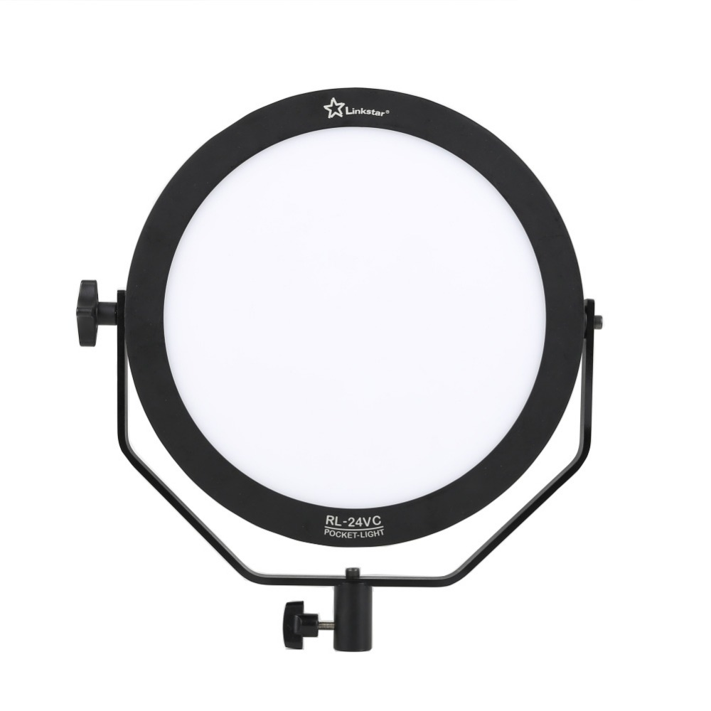 Linkstar 24W 3200-5600K Round Ultrathin Soft Daylight LED Photo Video Film Shooting Continuous Portable Pocket Light Dimmable RL-24VC