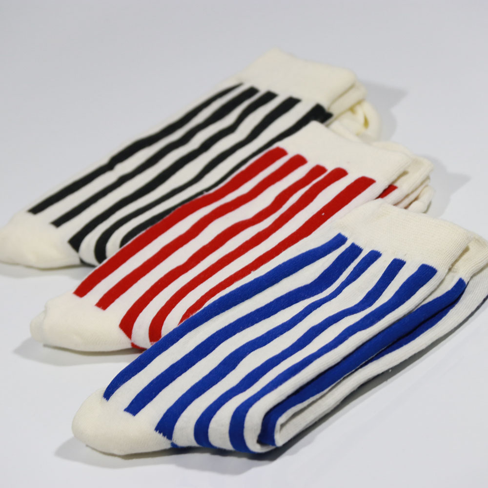 2017summer New Men Stripe Cotton Socks Fashion Art In Tube Casual Soft and Breathable Men Dress Socks(3Pairs of Boxes)