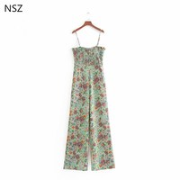 NSZ Women Print Summer Jumpsuits Rompers Sleeveless Strap Backless Casual Overalls Strapless Paysuits