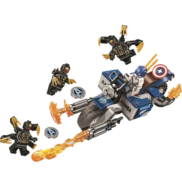MEW Marvel Avengers Capitão América Batedores Ataque Kit Bloco Tijolo Clássico Filme Brinquedo Modelo Compatível Blocos de MENTOS