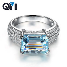 QYI Sterling Silver 925 3ct Emerald Cut Natural Sky Blue Topaz Rings For Women Luxury Pave Simulated Diamond Gemstone Gift