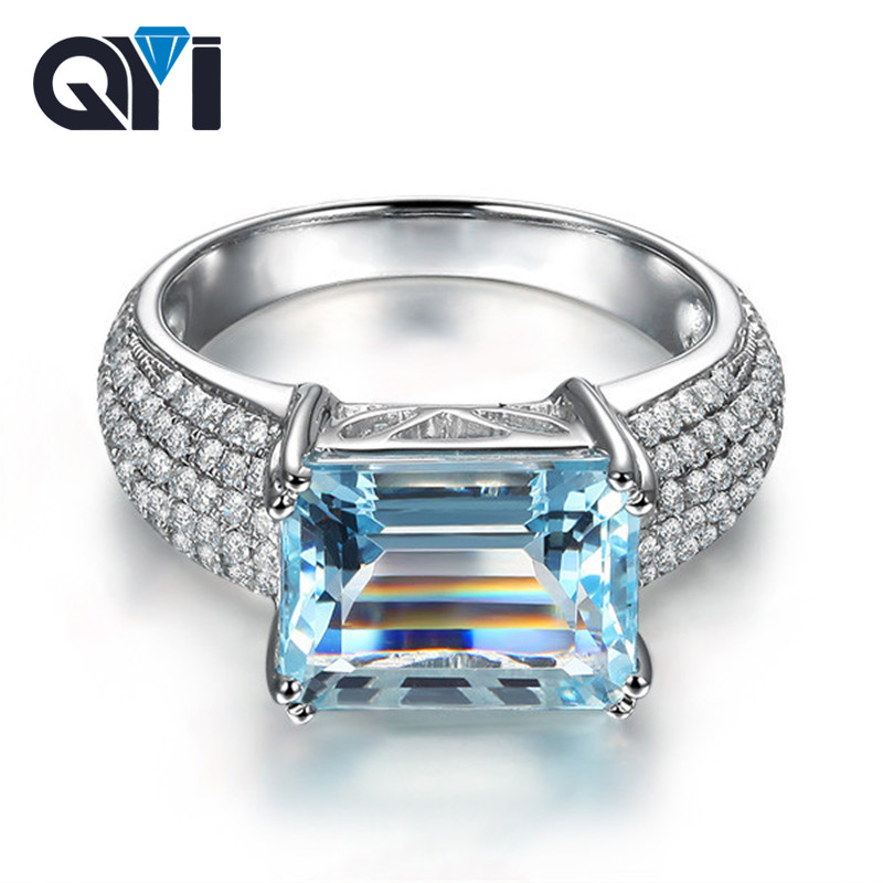 QYI Sterling Silver 925 3ct Emerald cut Natural Sky Blue Topaz Rings For Women Luxury Pave Simulated Diamond Gemstone Rings