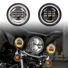 "1x Pair 4.5"" 4 1/2 inch led fog light with White red green blue pink yellow halo ring for motorcycle parts(China)"