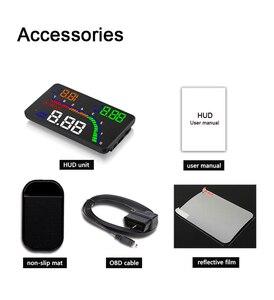 Image 5 - عداد السرعة الرقمي للسيارات بشاشة عرض 4 بوصة T100 HUD ، نظام تحذير السرعة الزائدة OBD2 ، جهاز عرض عاكس للزجاج الأمامي