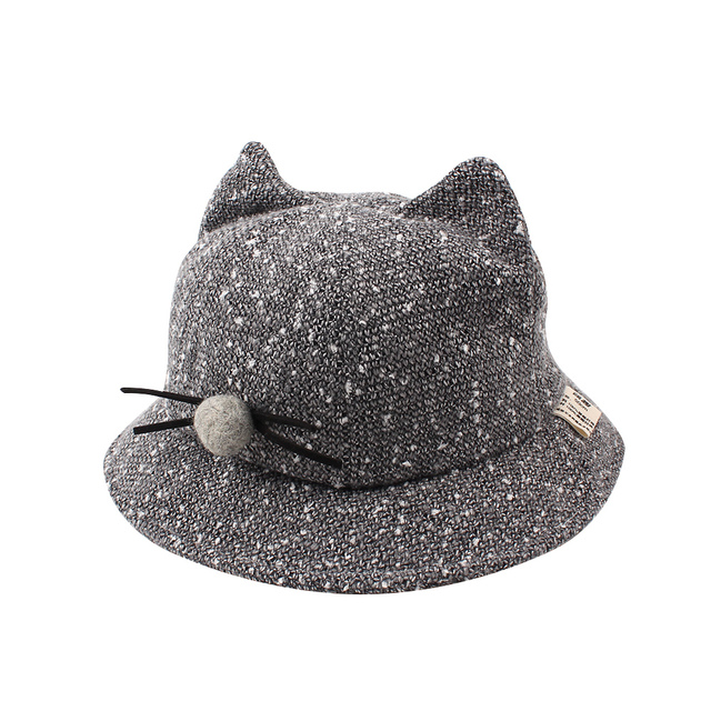 bf93a9dd101b1 Fashion Cat Baby Bucket Hat Infant Toddler Baby Bucket Hat Wide Brim  Outdoor Hat For Girls Autumn Kids Fisherman Hat With Pompom