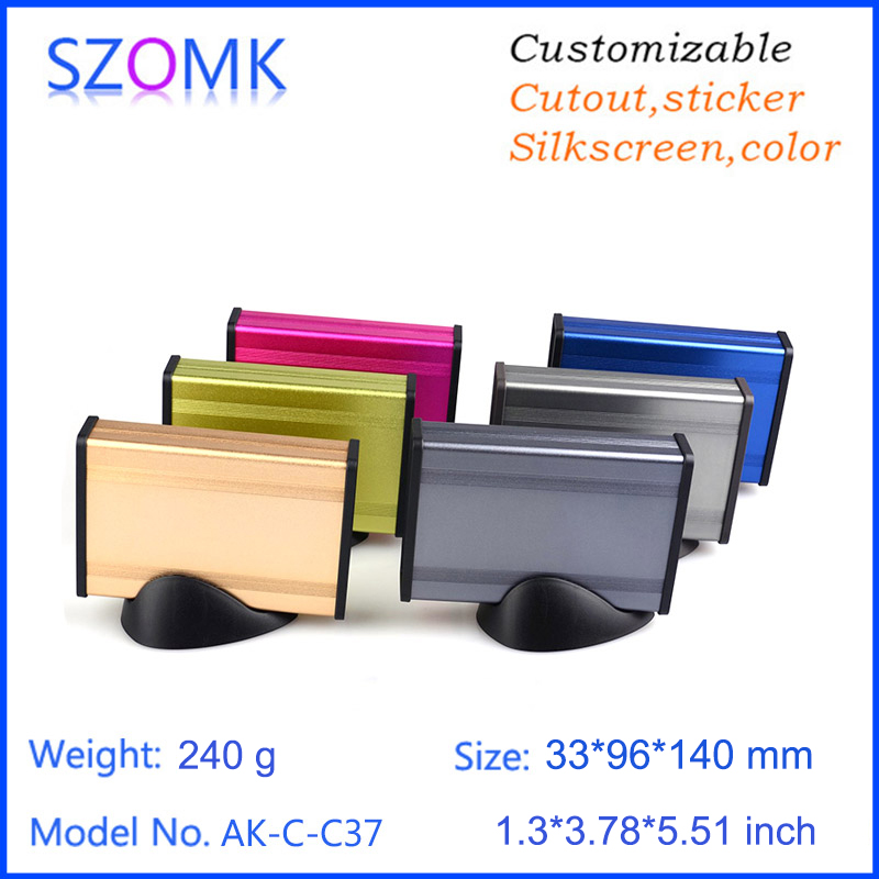 1 piece, 33*96*140mm szomk aluminum project box enclosure case diy box for electronic project aluminum case with plastic base