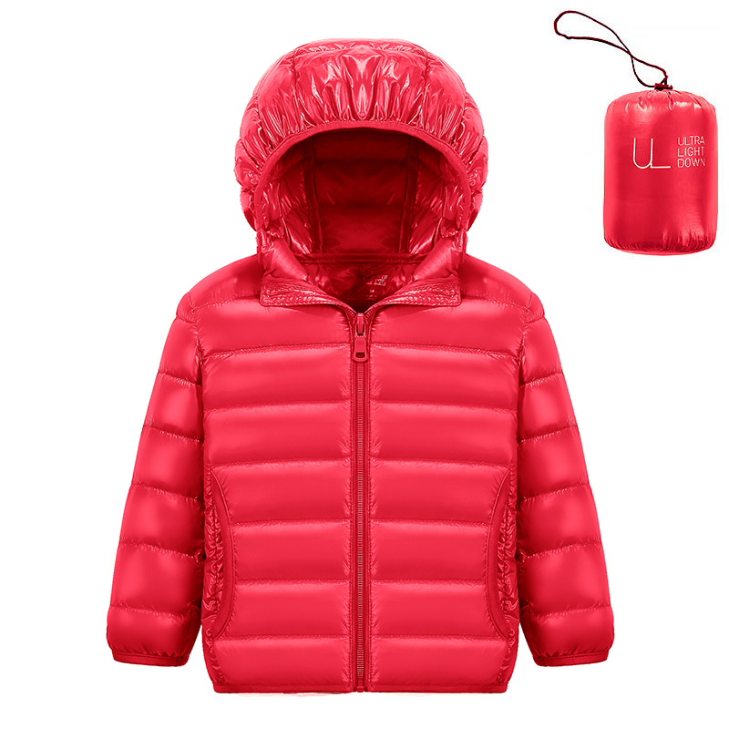 Baby Girls Down Jacket Children 90/% White Duck Down Padded Coat Kids Hooded Outerwear