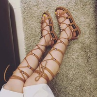 New Coming 2018 HOT Casual Women Gladiator Lace up Sandals Runway Flat Spikes Heels Girls Rock and Roll Sexy Shoes Free Shipping