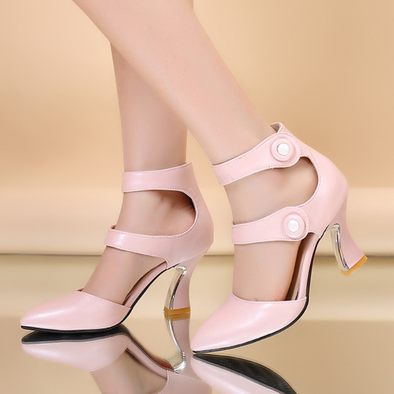 Sandalias Talón Moda Color Del Mujer Para Med 2017 Beige Toe rosado Casual Dulce Ponited Correa negro Nueva Tobillo Llegada Sexy 8qaRB