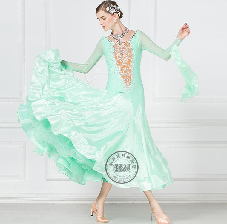 080226c15 New Competition ballroom Standard dance dress,dance clothing,ballroom waltz  dresses,Ballroom Dance Dress mint green1791-in Ballroom from Novelty &  Special ...
