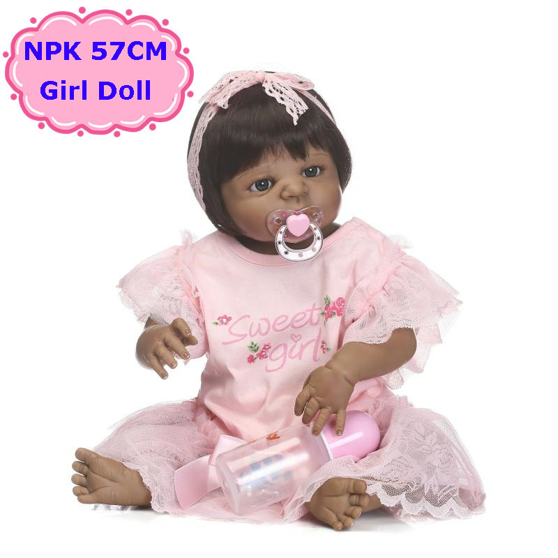 New 57cm NPK Full Body Silicone Bebe Reborn Doll Toys Alive Black Girl Doll Lovely Kids Toys Hot Birthday Brinquedos For Girls fancytrader new style giant plush stuffed kids toys lovely rubber duck 39 100cm yellow rubber duck free shipping ft90122