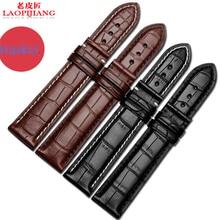 Laopijiang двусторонняя аллигатор ремешок Мужчин и женщин подходят черный коричневый кожаный ремешок 18 | 20 мм