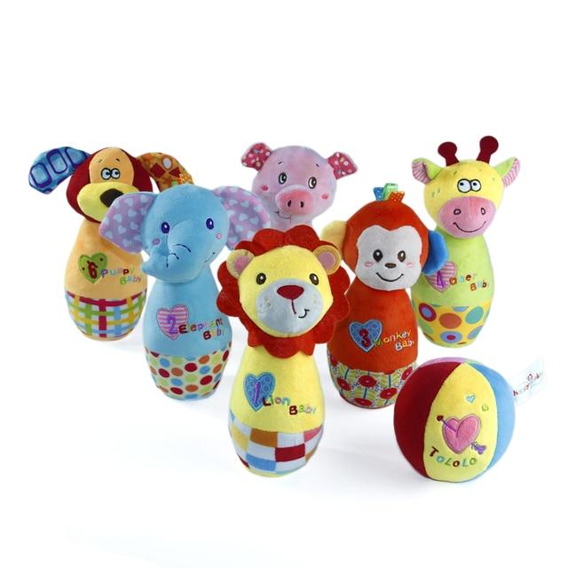 6 Animals Ball Happymonkey Rattles Animal Toy Baby Plush Bowling