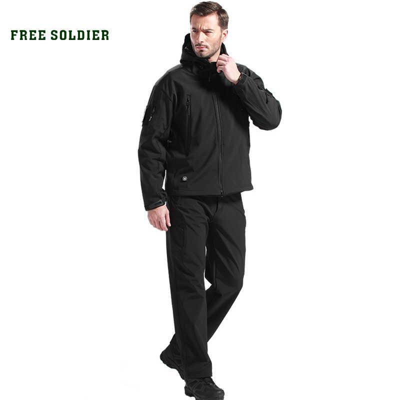 を無料の兵士屋外キャンプハイキングジャケットセット狩猟戦術服セットインスタント防水男性のジャケットとパンツ