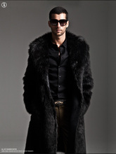 New leather men's casual long thick warm fur jacket 2013 fashion fox fur trench coat rabbit fur winterbreaker H1838