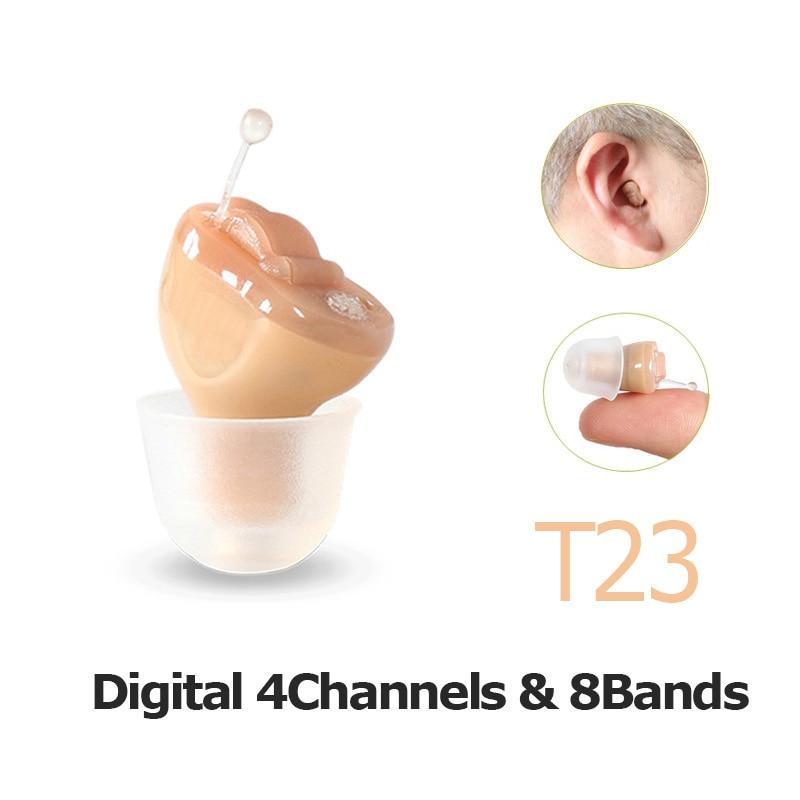 Dropshipping Cina 4 Canali Digital Invisible Hearing Aids Amplificazione del Suono Per Gli Anziani T23 con Apparecchi Acustici Batteria A10