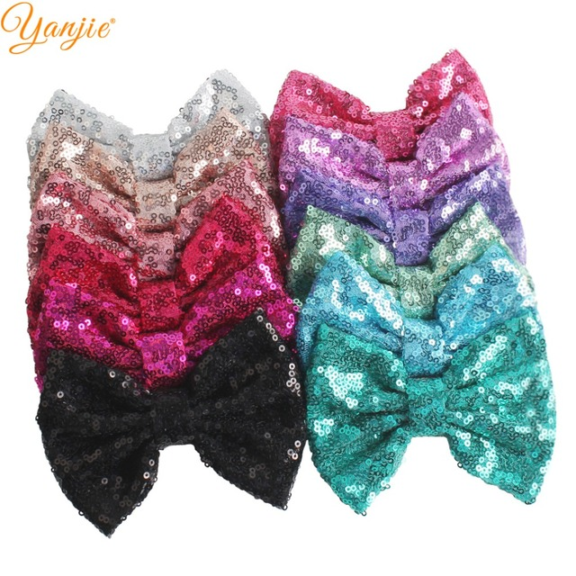 """DHL 300pcs/lot 5"""" Sequin Bow Girls Solid Glitter Knot Hair Bow For Kids 2020 DIY Hair Bow Headband Girls Hair Accessories"""