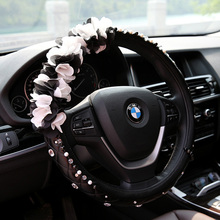 Rhinestone Lace Flower Car Steering Wheel Cover Anti-Slip Leather Universal Car Steering-wheel Cover for Women and Grils