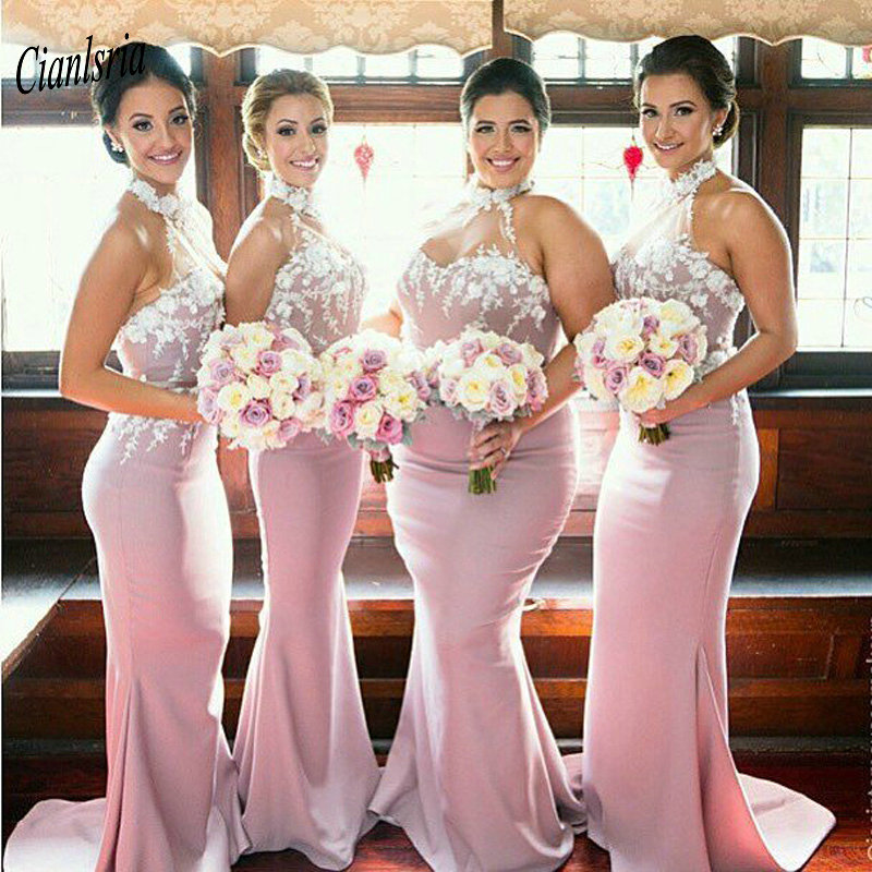 Pink Halter Sleeveless Long Mermaid   Bridesmaid     Dresses   Cheap Appliques Wedding Guest   Dress   For Wedding Party robe demoiselle