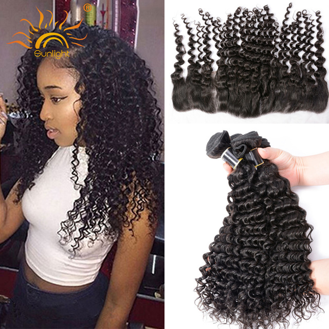 8A Raw Indian Curly Virgin Hair With Closure 4pcs/lot Indian Deep Wave Lace Frontal Closure With Bundles Indian Remy Human Hair