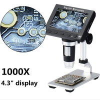 1000x 5.0MP USB Digital Electronic Microscope 4.3LCD Display VGA Video Microscope with 8LED and Stand for PCB Repairing