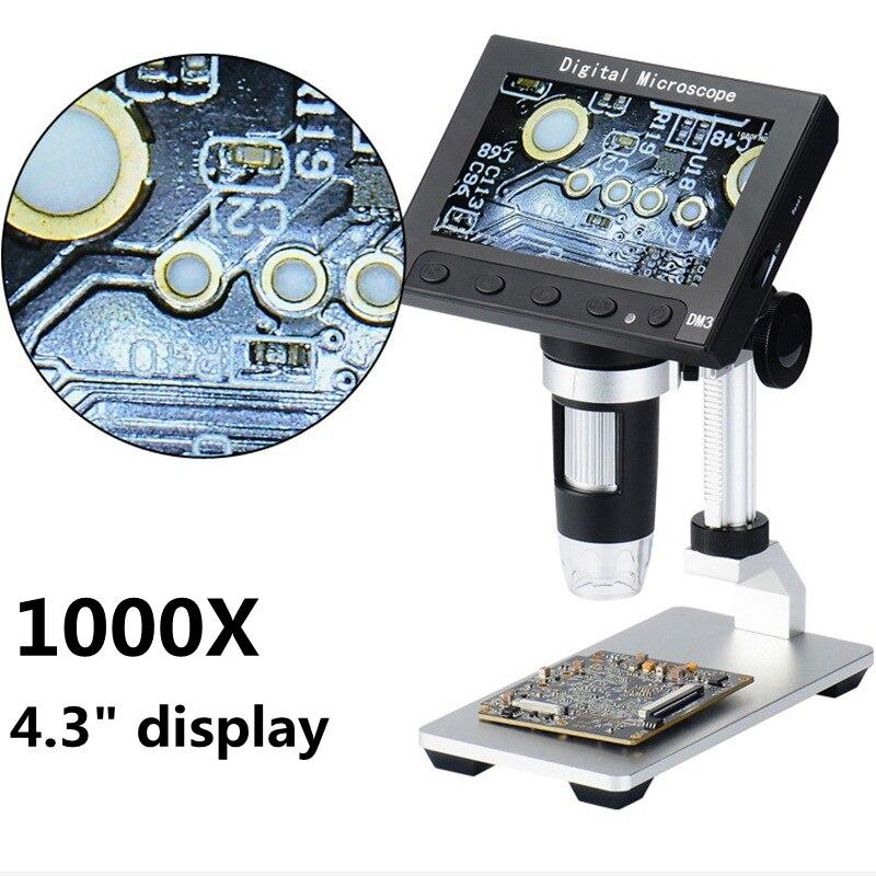 1000x5.0 MP USB Microscópio Eletrônico Digital 4.3 LCD Monitor VGA Microscópio com 8LED e Stent para PCB motherboard Reparação