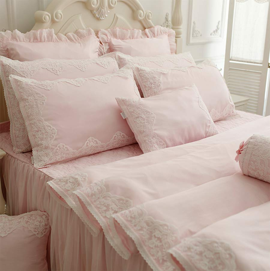 Princess pink purple lace cotton bedding sets,girl plush cotton twin full queen king bedclothes bedshirt pillow case duvet cover