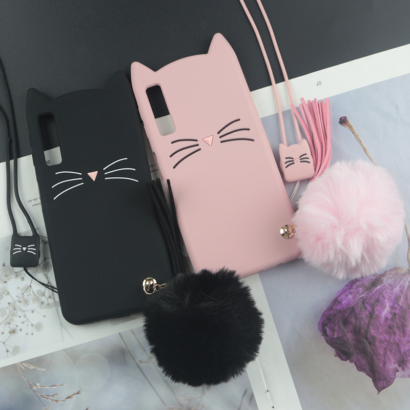 Cute 3D <font><b>Cartoon</b></font> Silicon <font><b>Case</b></font> for Samsung Galaxy <font><b>A50</b></font> A70 A30 A20 A10 <font><b>Cases</b></font> Japan Glitter Beard Cat Lovely Ears Kitty Phone Cover image