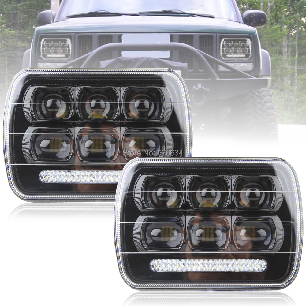 1 Pair 7 inch Rectangular LED Headlight Projector Daymaker Hi/Low Beam With DRL For 1987-1995 Jeep Wrangler YJ for 1987-1 1 pair 7 inch rectangular led headlight