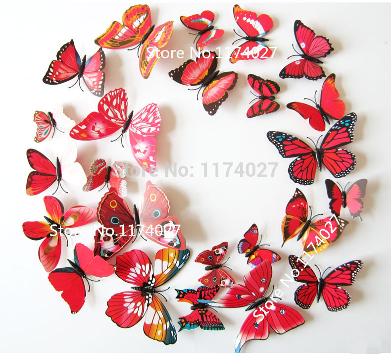12pcs PVC 3d Butterfly Home decor small europe cute Wall stickers colorful red Butterflies Decals Decoration