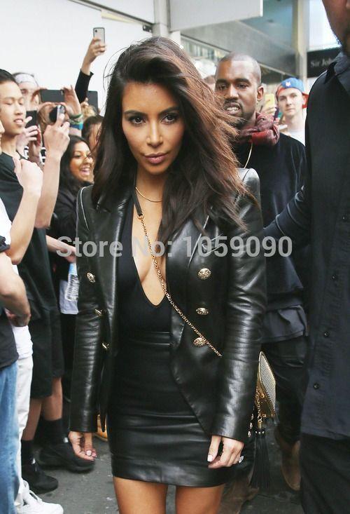 En Blazer Luxe Mode Gras Pointu Boutonné Relief Vogain Kim Boutonnage Col Cuir 2016 Kardashian Or Double De Épaules Aq8FFxY