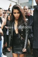 2016 VogaIn Luxury Fashion Kim Kardashian Leather Blazer Double Breasted Gold buttoned embossed bold shoulders pointed collar