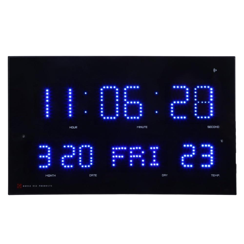 Automatisch einstellen helligkeit Led wanduhr modrern elektronische Led kalender uhr mit temp und woche display Wavecepter uhr-in Wanduhren aus Heim und Garten bei  Gruppe 3