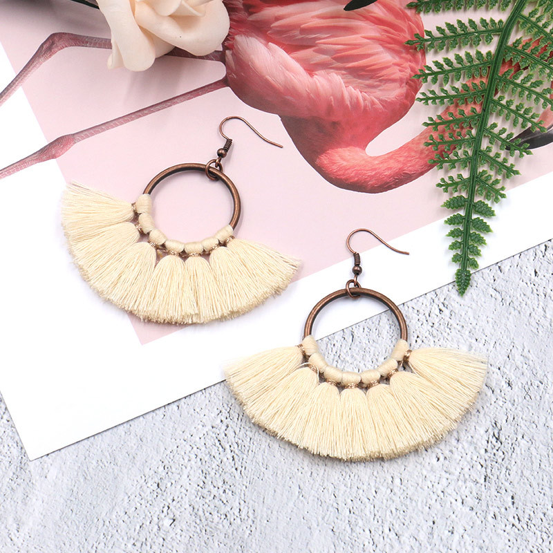 Exknl Long Vintage Fringed Drop Tassel Earrings Women Bohemian Round Big Earrings Ethnic Party Dangle Earrings Fashion Jewelry 14