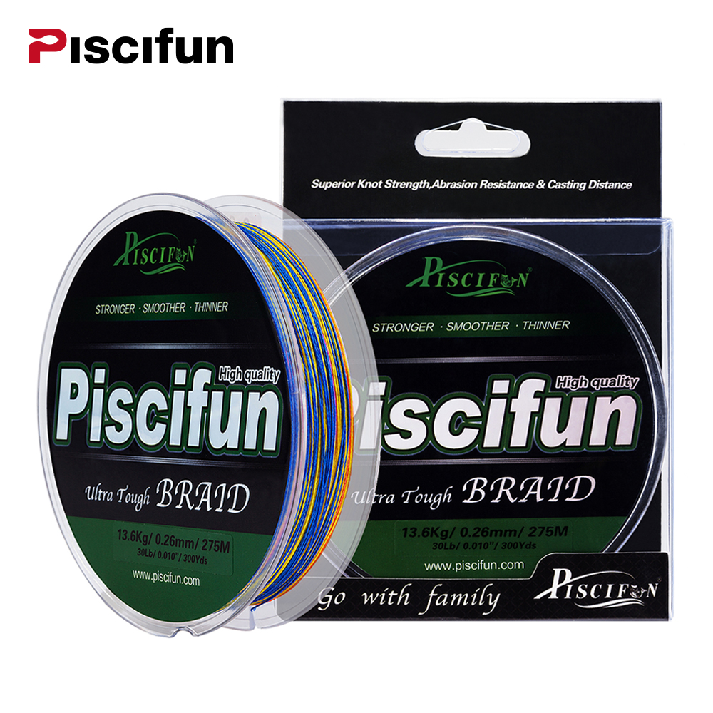 Piscifun Braided Line 300Yds 275M 10-100LB Super Strong PE Braided Fishing Line 8LB 10LB 20LB 60LB Multifilament Fishing Line