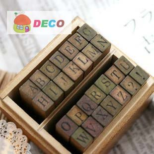 где купить 1set/lot Funny uppercase lowercase wood stamp set DIY stamps Iron/wooden box DIY office zakka school supplies(ss-2141) дешево