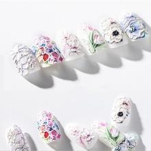 3D Выгравированные цветы наклейки для ногтей рельефные DIY наклейки для дизайна ногтей советы OA66