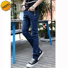 NEW 2019 Indoor Casual metal Button Solid Blue Slim Fit Washing denim pantalon homme Teenagers trousers Men
